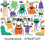 cute scary halloween monsters... | Shutterstock .eps vector #478637107