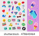pop art fashion chic patches ... | Shutterstock .eps vector #478643464