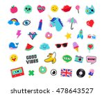 pop art fashion chic patches ... | Shutterstock .eps vector #478643527