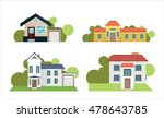 colorful flat residential houses | Shutterstock .eps vector #478643785