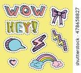happy colorful fashion patches... | Shutterstock .eps vector #478658827