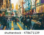 people walking in colorful of... | Shutterstock . vector #478671139