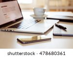 home office with smartphone   Shutterstock . vector #478680361