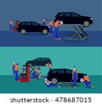 maintenance and repair cars | Shutterstock .eps vector #478687015