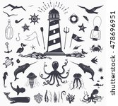 big set of marine animals ... | Shutterstock .eps vector #478696951