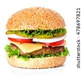 Hamburger Close Up Isolated On...