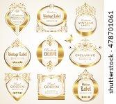 white gold framed labels | Shutterstock .eps vector #478701061