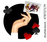 hand of woman holding joker... | Shutterstock .eps vector #478727179