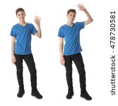 cute teenager boy in blue t... | Shutterstock . vector #478730581