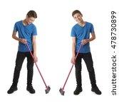 cute teenager boy in blue t... | Shutterstock . vector #478730899