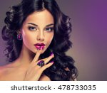 model curly hair and jewelry  ... | Shutterstock . vector #478733035