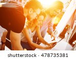 coworkers making great business ... | Shutterstock . vector #478735381