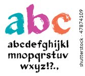 paintbrush alphabet. vector.   Shutterstock .eps vector #47874109