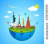 world landmarks concept. vector ... | Shutterstock .eps vector #478749559