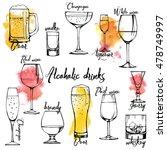 alchohol drinks champagne  red... | Shutterstock .eps vector #478749997