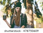 Modern Teenage Hipster Girl In...