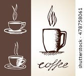 coffee sketches set. collection ... | Shutterstock .eps vector #478758061