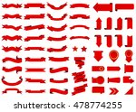Banner vector icon set red color on white background. Ribbon isolated shapes illustration of gift and accessory. Christmas sticker and decoration for app and web. Label, badge and borders collection. | Shutterstock vector #478774255