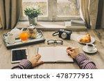 hipster man having a tasty... | Shutterstock . vector #478777951