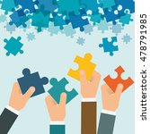 puzzle hand teamwork support... | Shutterstock .eps vector #478791985