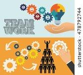 pictogram gears hand teamwork... | Shutterstock .eps vector #478792744