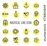 set of nautical line icon...