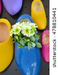 Small photo of white flowers in typical Dutch wooden clog, bright background