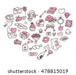 set of valentine icon doodle in ... | Shutterstock . vector #478815019