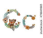 The letter C. Bright floral element of colorful alphabet Owl, flowers, and twigs. floral ABC element in vector
