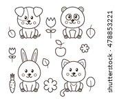 set of four kawaii animals  cat