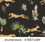 watercolor tropical pattern...   Shutterstock . vector #478871389