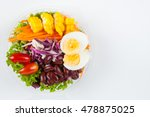 fresh salad in plastic box... | Shutterstock . vector #478875025