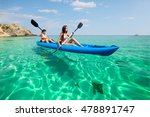 two young women kayaking in the ... | Shutterstock . vector #478891747
