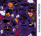 vector seamless halloween... | Shutterstock .eps vector #478894534