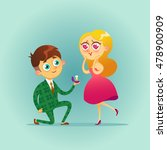 handsome man proposing marriage ... | Shutterstock .eps vector #478900909