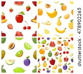 set of vector fruits seamless... | Shutterstock .eps vector #478902265