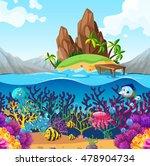 scene with fish under the ocean ... | Shutterstock .eps vector #478904734