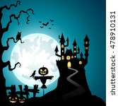 halloween background with... | Shutterstock . vector #478910131