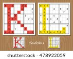 sudoku set with answers. k  l... | Shutterstock . vector #478922059