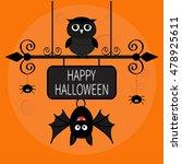 happy halloween card. bat... | Shutterstock . vector #478925611