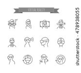 virtual reality icons set for...