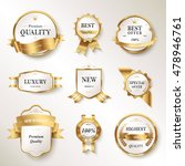 elegant pearl white labels set  ... | Shutterstock .eps vector #478946761