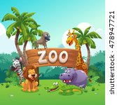 zoo and animals cartoon style ... | Shutterstock .eps vector #478947721