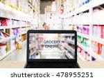 grocery online on labtop screen ...   Shutterstock . vector #478955251