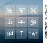 drones icons set  tricopter ...