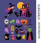 halloween cute vector icon set | Shutterstock .eps vector #478959874