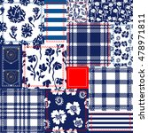 blue  white  red patchwork.... | Shutterstock .eps vector #478971811