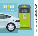 electric car. charging station. ...   Shutterstock .eps vector #478980445
