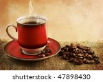 a cup of coffee and coffee... | Shutterstock . vector #47898430