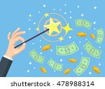hand holding magic wand and... | Shutterstock .eps vector #478988314
